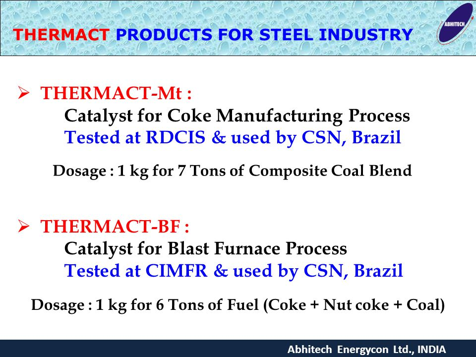 THERMACT PRODUCTS FOR STEEL INDUSTRY