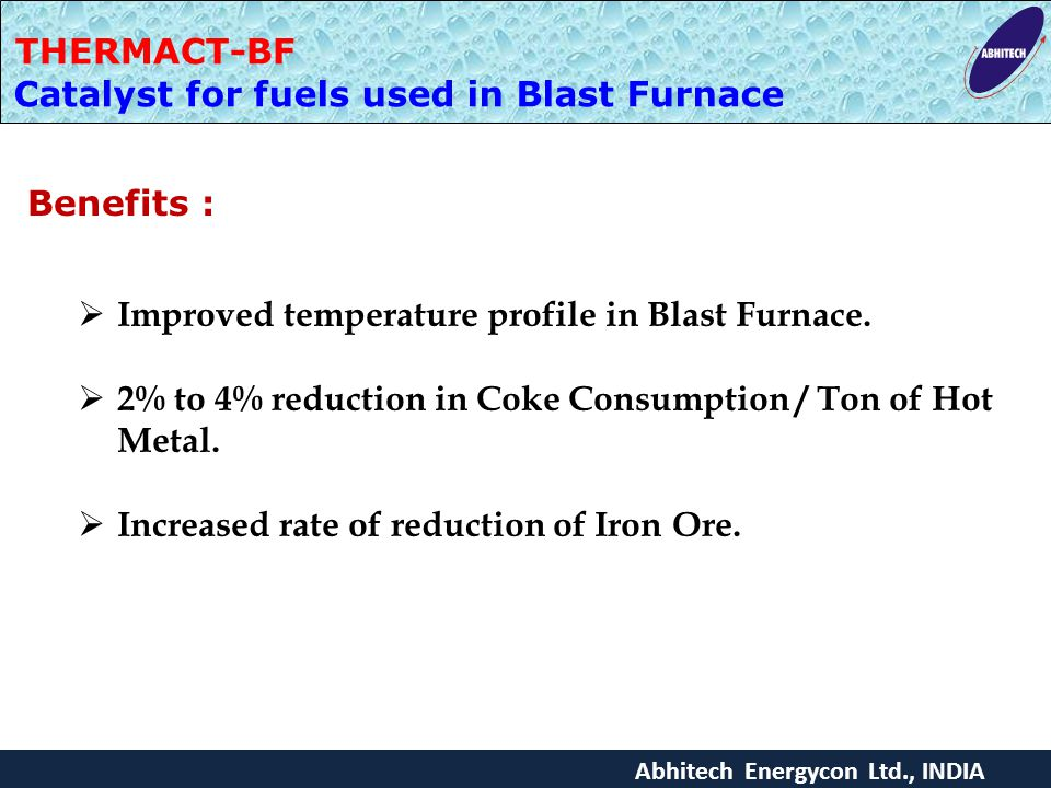 Catalyst for fuels used in Blast Furnace
