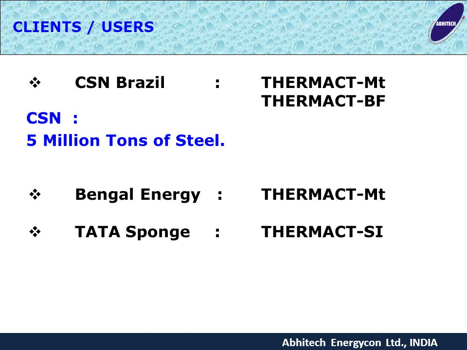 CSN Brazil : THERMACT-Mt THERMACT-BF