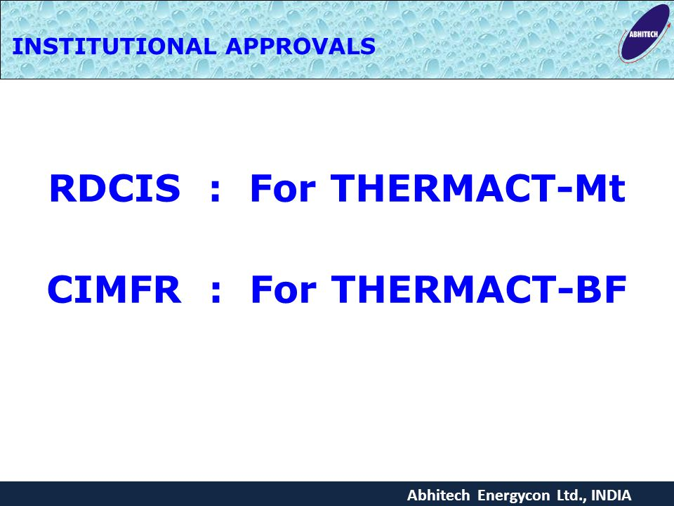 RDCIS : For THERMACT-Mt CIMFR : For THERMACT-BF