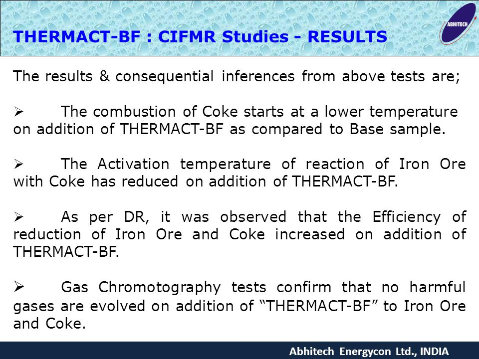 THERMACT-BF : CIFMR Studies - RESULTS