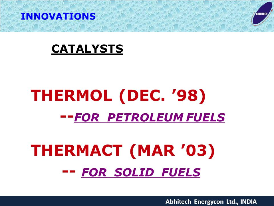 THERMOL (DEC. '98) --FOR PETROLEUM FUELS THERMACT (MAR '03)