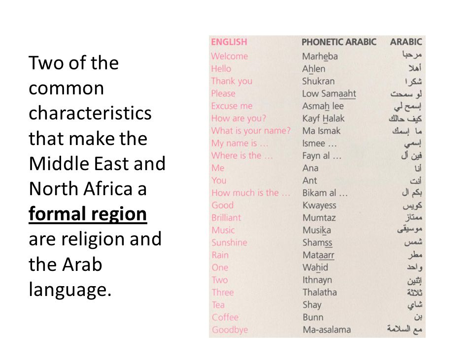 Two of the common characteristics that make the Middle East and North Africa a formal region are religion and the Arab language.