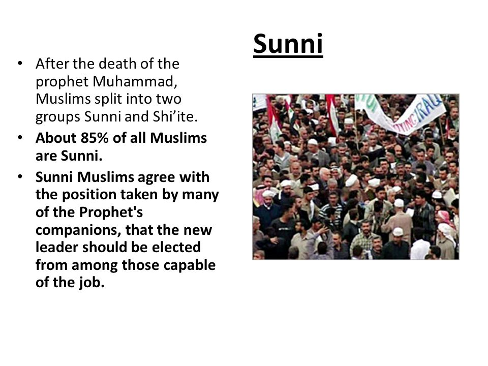 Sunni After the death of the prophet Muhammad, Muslims split into two groups Sunni and Shi'ite. About 85% of all Muslims are Sunni.