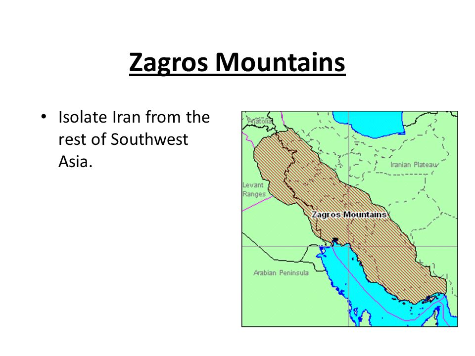 Zagros Mountains Isolate Iran from the rest of Southwest Asia.