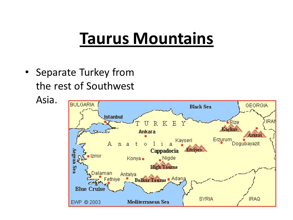 Taurus Mountains Separate Turkey from the rest of Southwest Asia.