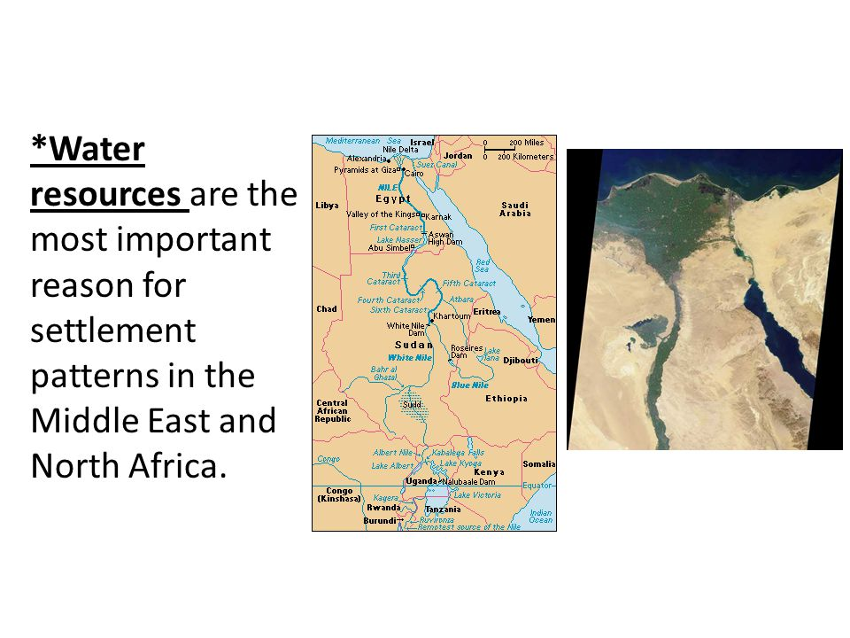 *Water resources are the most important reason for settlement patterns in the Middle East and North Africa.