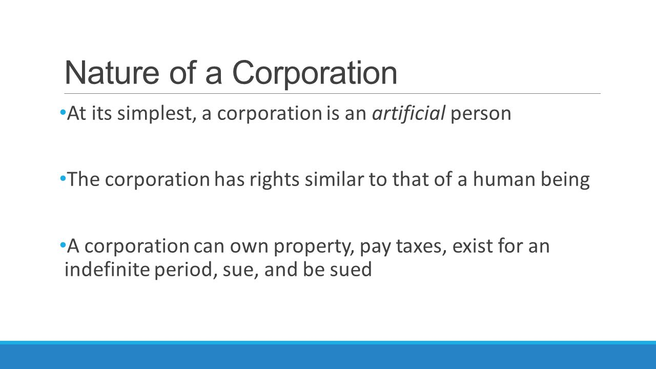 Nature of a Corporation