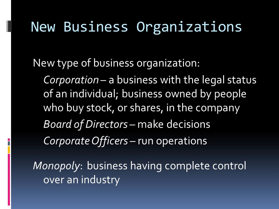 New Business Organizations