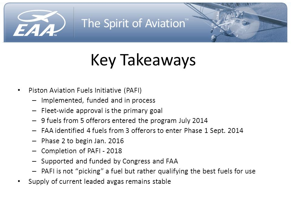 Key Takeaways Piston Aviation Fuels Initiative (PAFI)