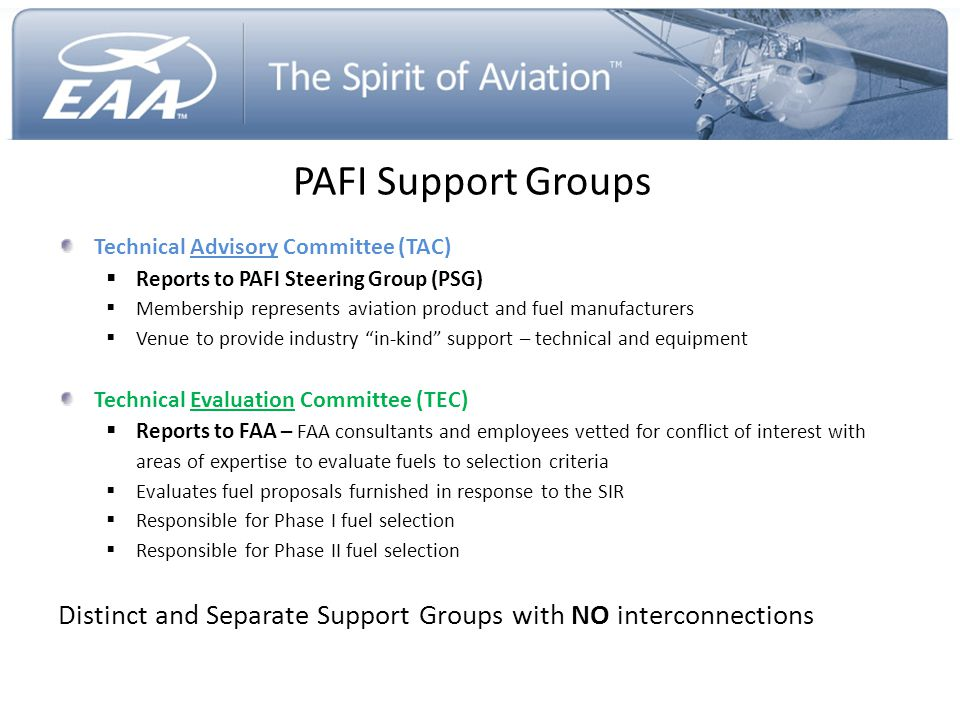 PAFI Support Groups Technical Advisory Committee (TAC) Reports to PAFI Steering Group (PSG)