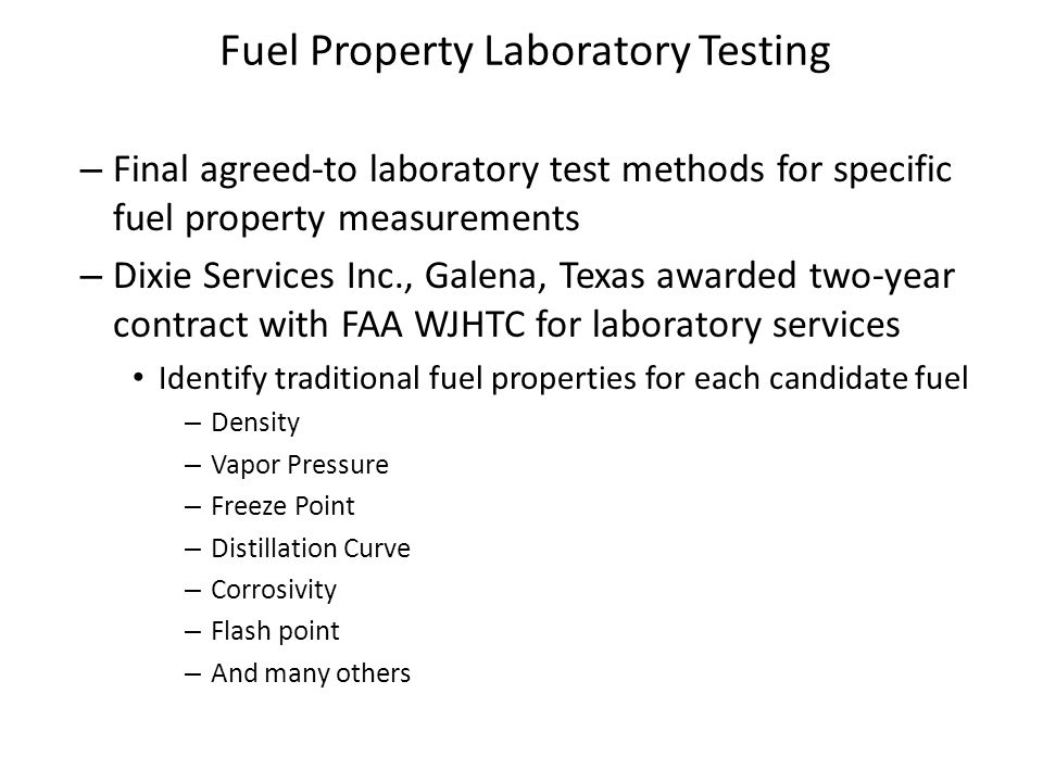 Fuel Property Laboratory Testing