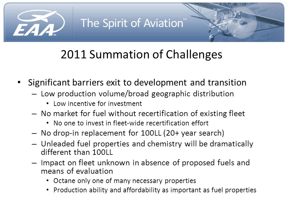 2011 Summation of Challenges