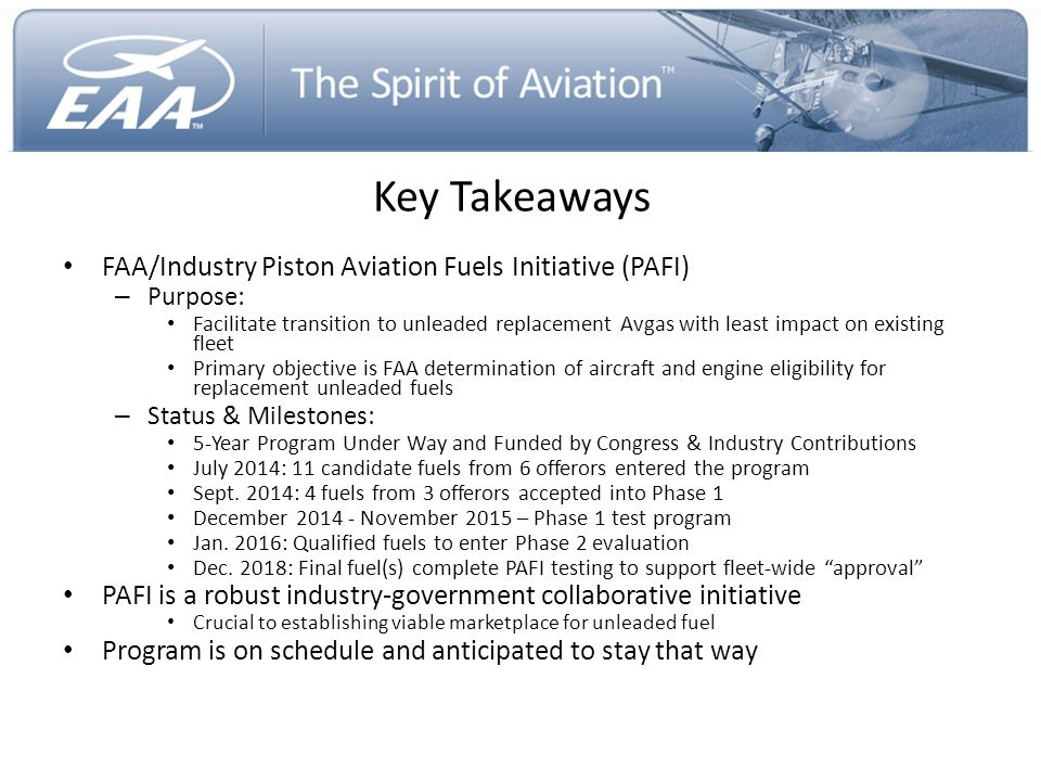Key Takeaways FAA/Industry Piston Aviation Fuels Initiative (PAFI)