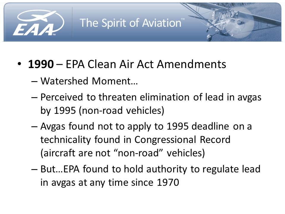 1990 – EPA Clean Air Act Amendments