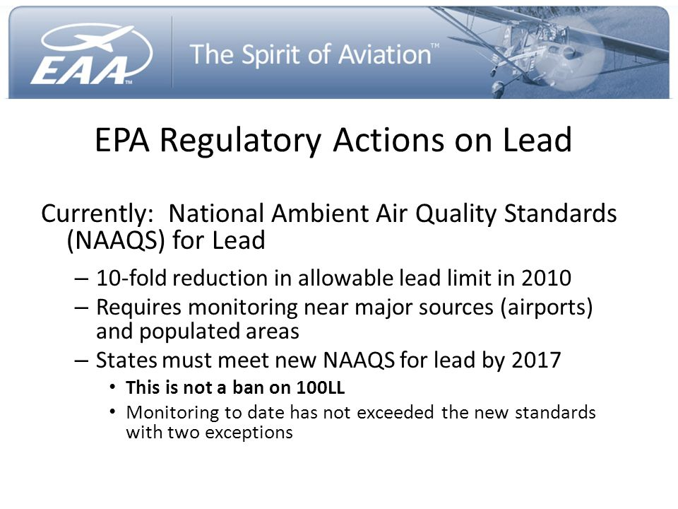 EPA Regulatory Actions on Lead