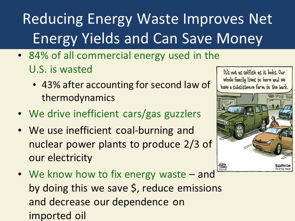 Reducing Energy Waste Improves Net Energy Yields and Can Save Money