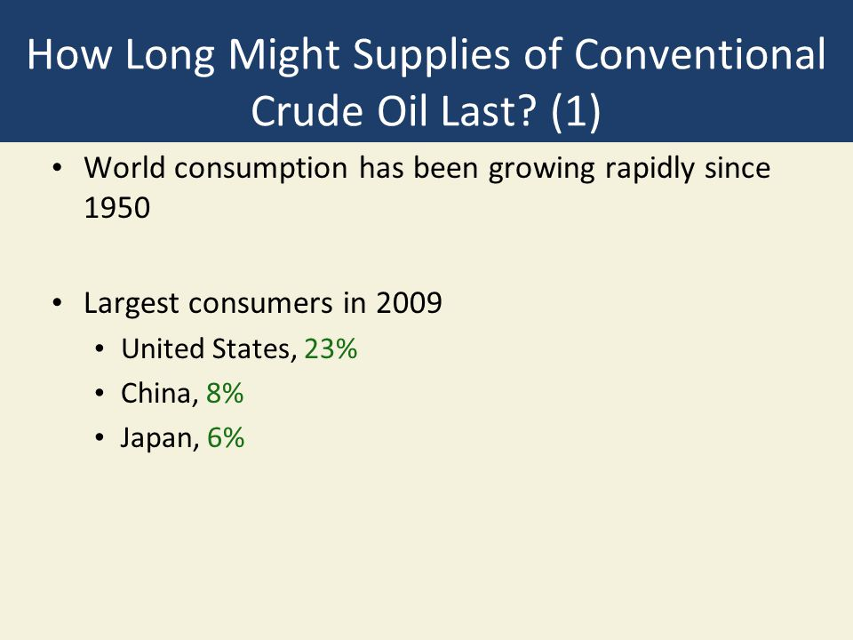 How Long Might Supplies of Conventional Crude Oil Last (1)