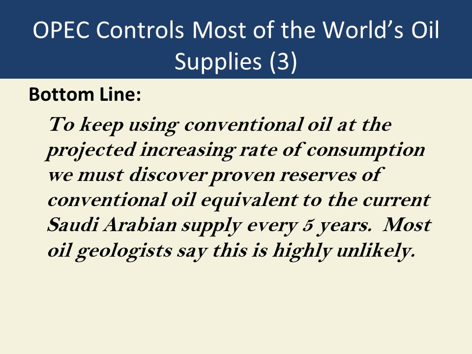 OPEC Controls Most of the World's Oil Supplies (3)
