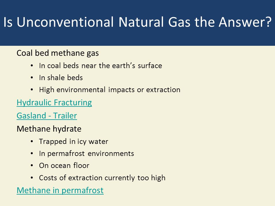 Is Unconventional Natural Gas the Answer