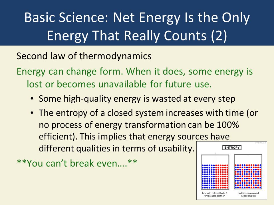 Basic Science: Net Energy Is the Only Energy That Really Counts (2)