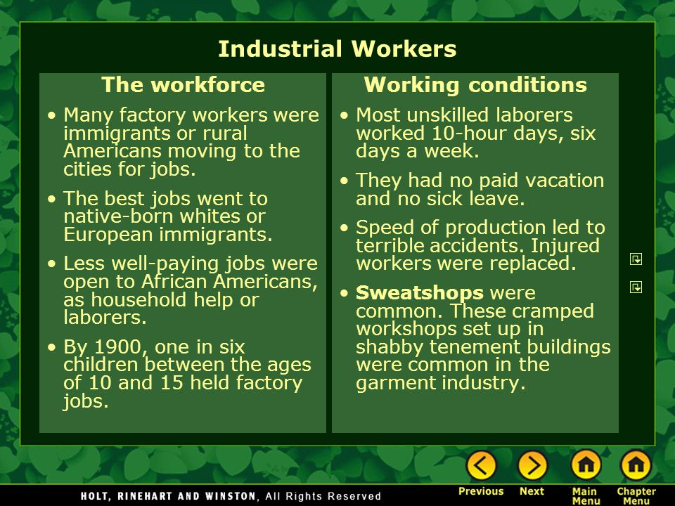 Industrial Workers The workforce Working conditions