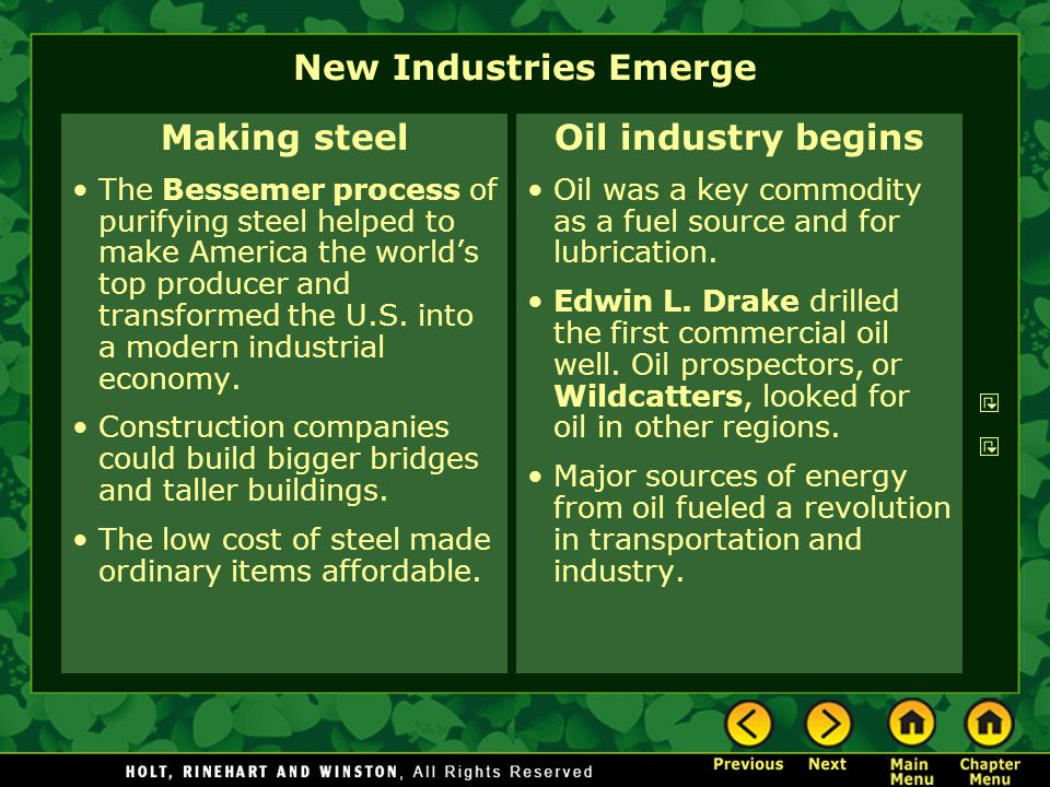 New Industries Emerge Making steel Oil industry begins