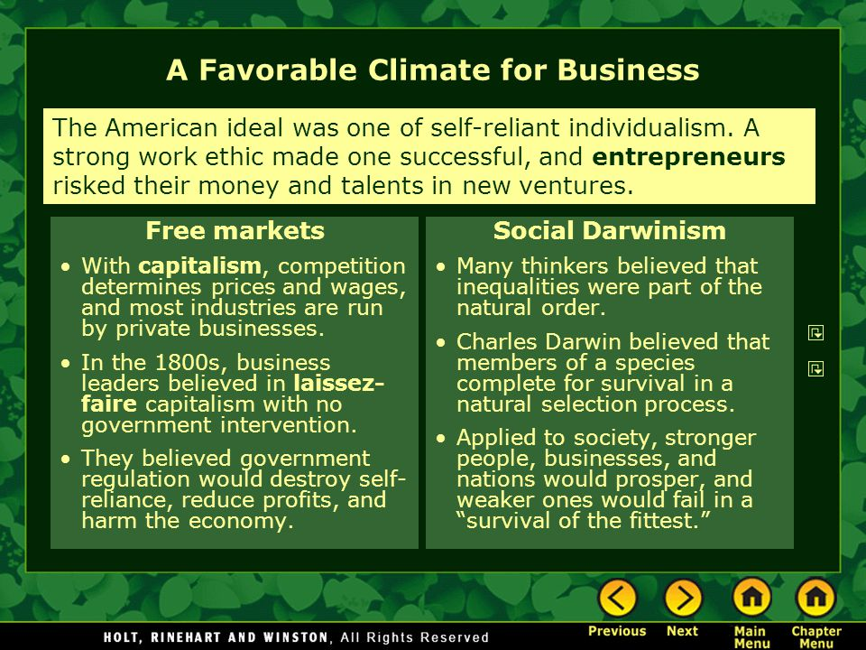 A Favorable Climate for Business