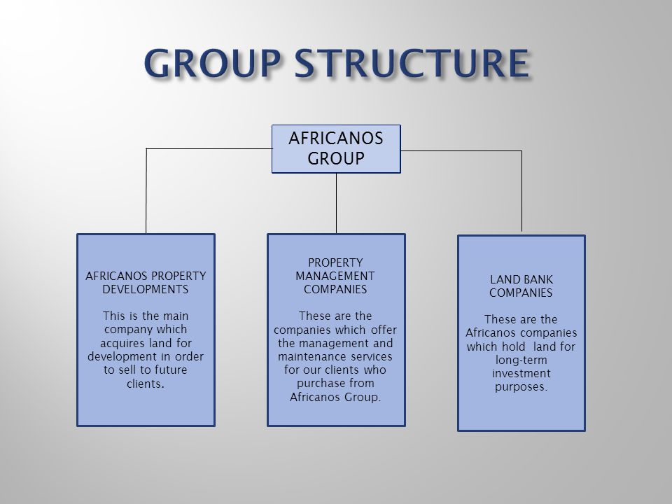 GROUP STRUCTURE AFRICANOS GROUP AFRICANOS PROPERTY DEVELOPMENTS