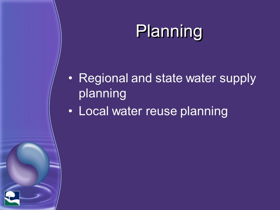 Planning Regional and state water supply planning