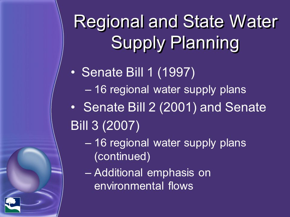 Regional and State Water Supply Planning