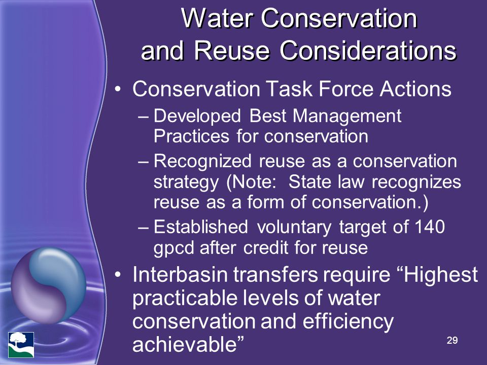 Water Conservation and Reuse Considerations