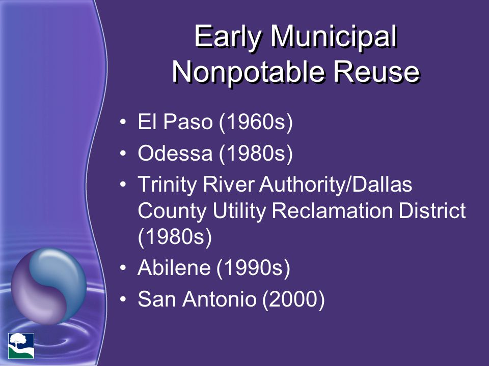 Early Municipal Nonpotable Reuse