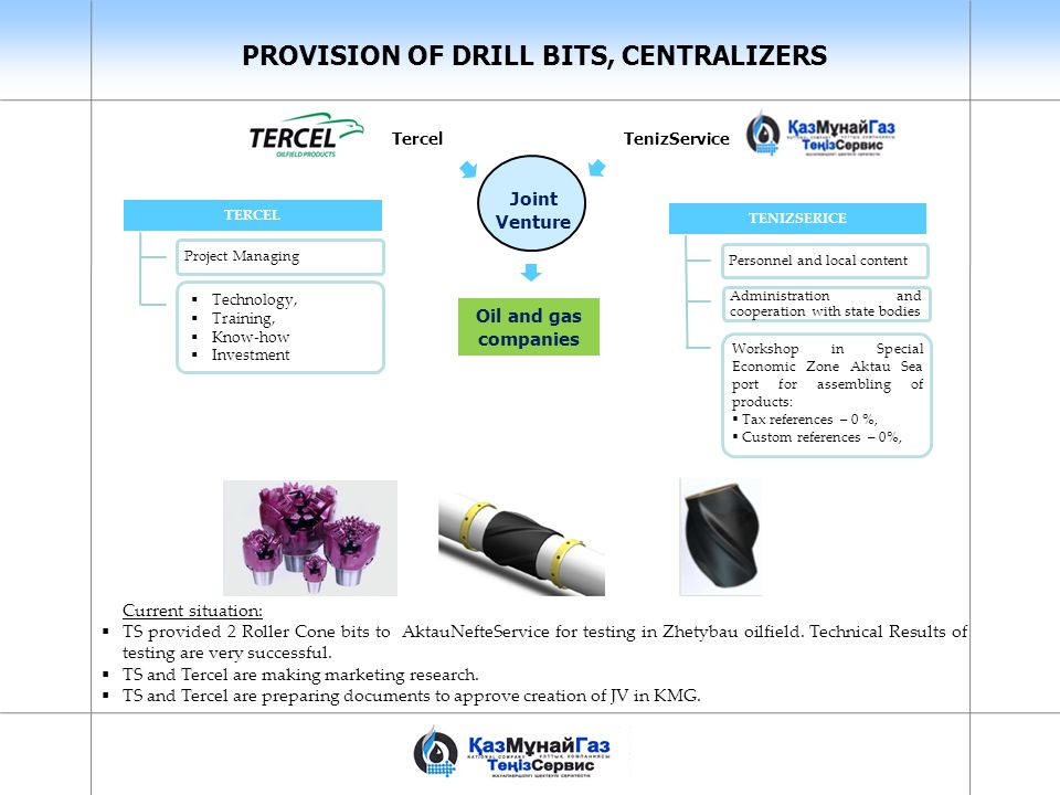 PROVISION OF DRILL BITS, CENTRALIZERS