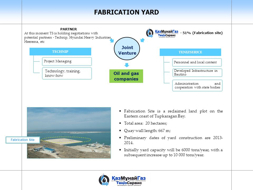 FABRICATION YARD Joint Venture Oil and gas companies