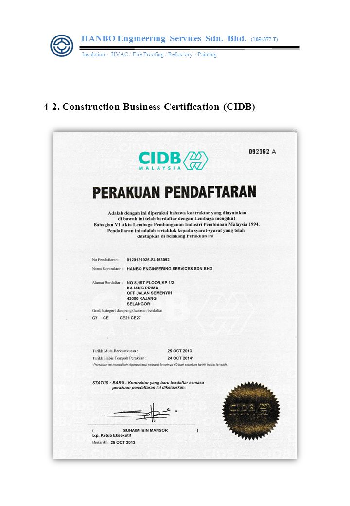 4-3. PETRONAS License HANBO Engineering Services Sdn. Bhd. (1054377-T)