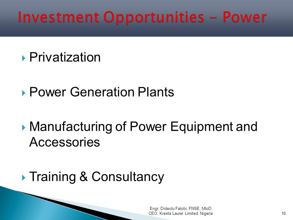 Investment Opportunities - Power