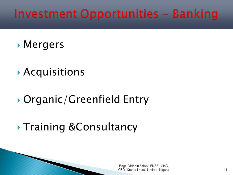 Investment Opportunities - Banking
