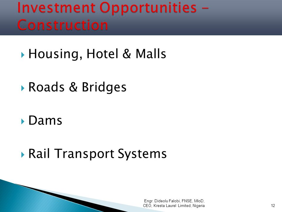Investment Opportunities - Construction