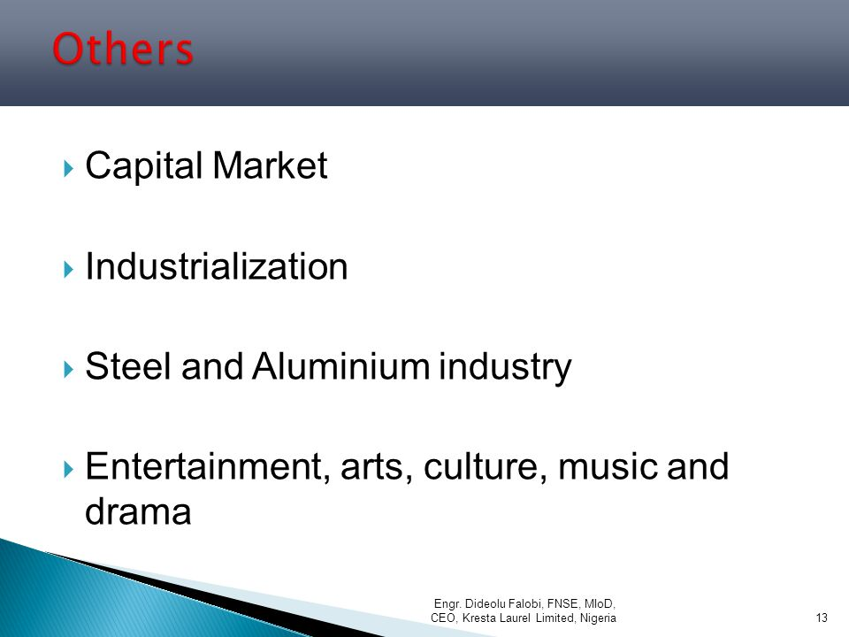 Others Capital Market Industrialization Steel and Aluminium industry