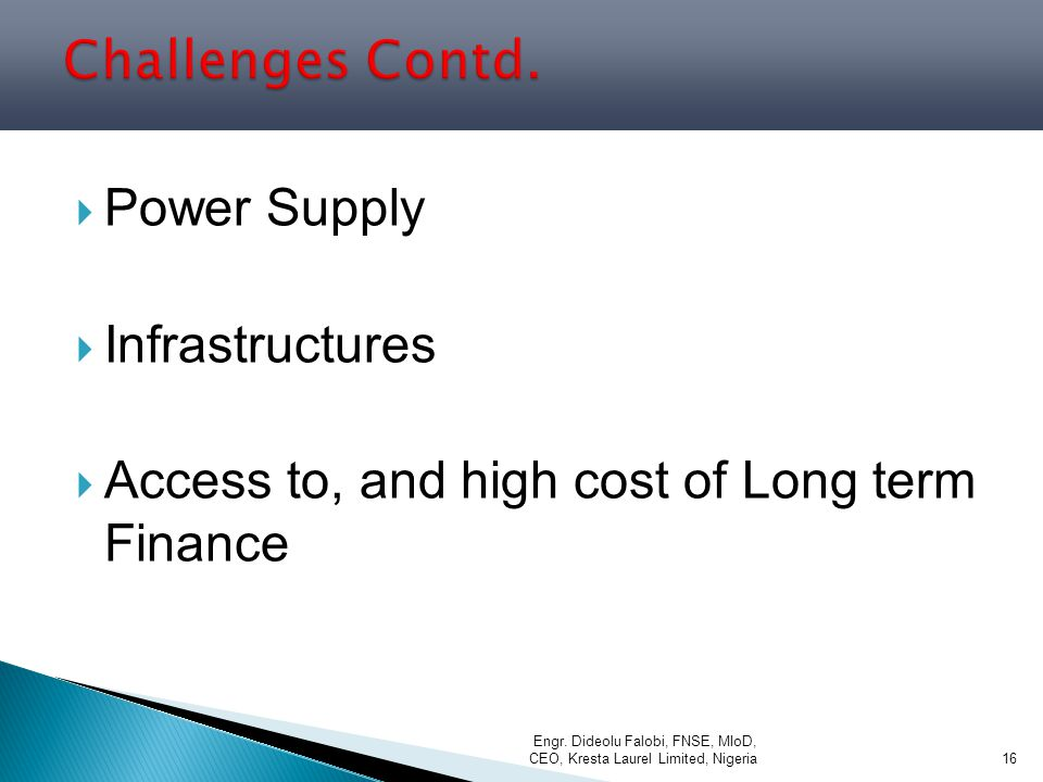 Challenges Contd. Power Supply Infrastructures