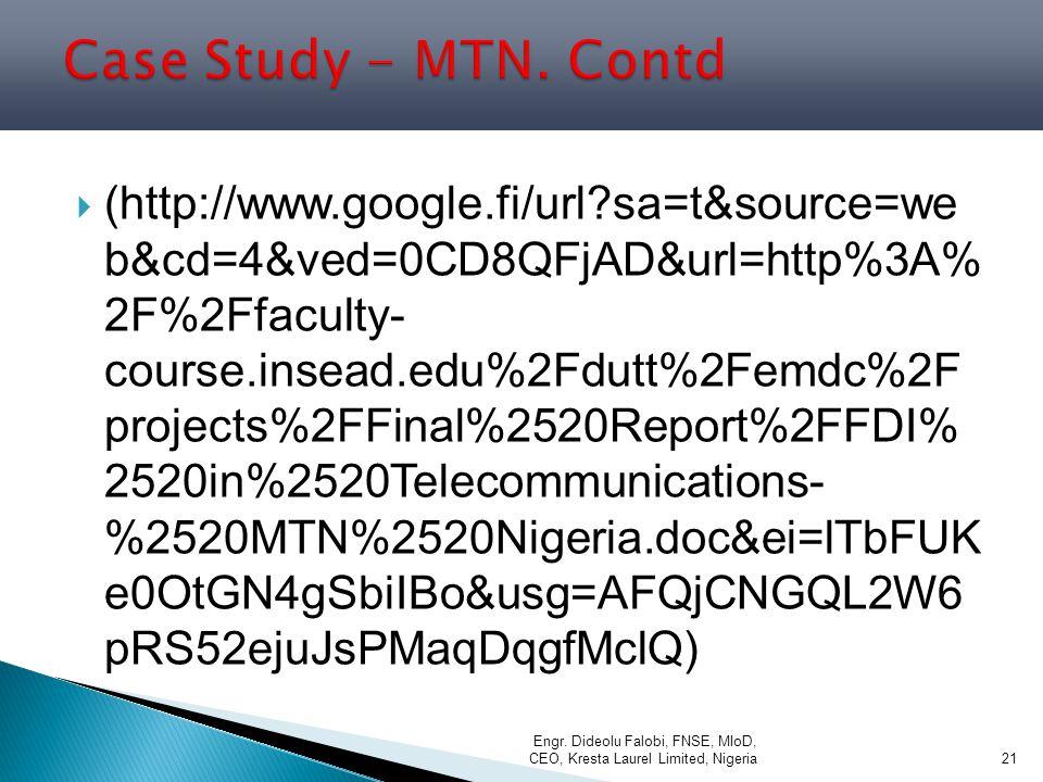 Case Study - MTN. Contd