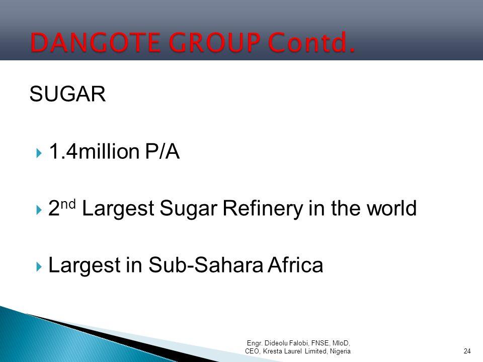 DANGOTE GROUP Contd. SUGAR 1.4million P/A
