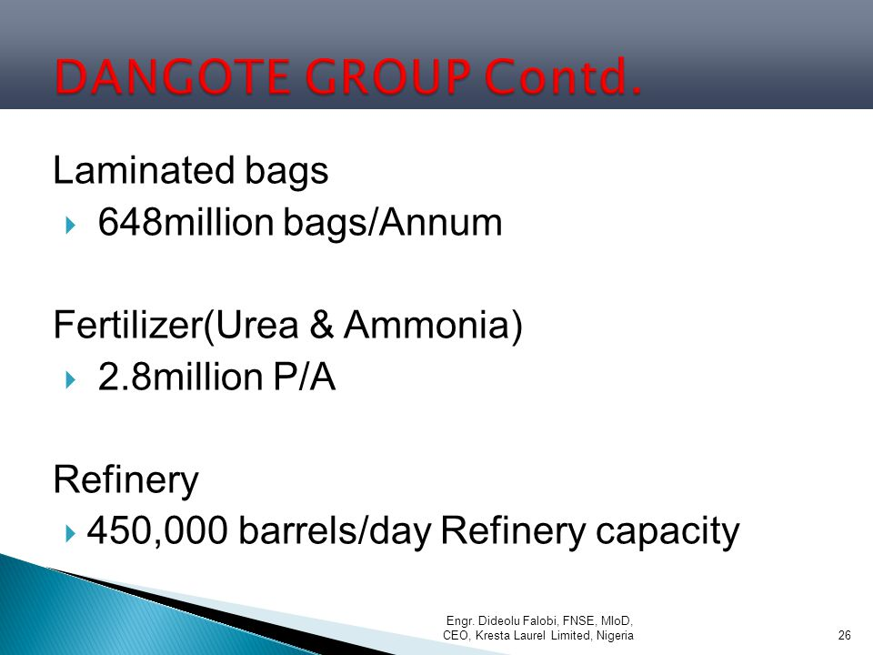 DANGOTE GROUP Contd. Laminated bags 648million bags/Annum