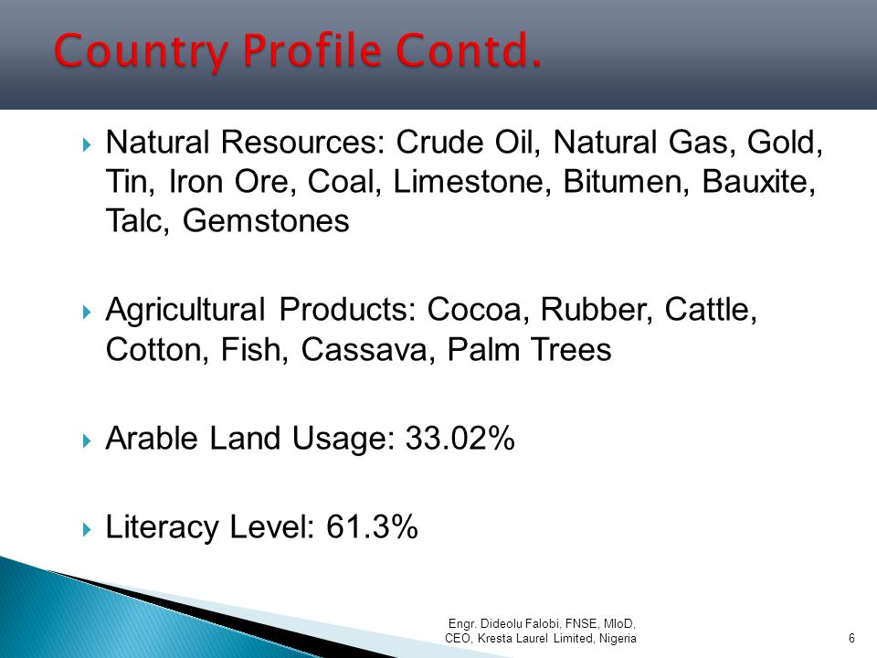 Country Profile Contd. Natural Resources: Crude Oil, Natural Gas, Gold, Tin, Iron Ore, Coal, Limestone, Bitumen, Bauxite, Talc, Gemstones.