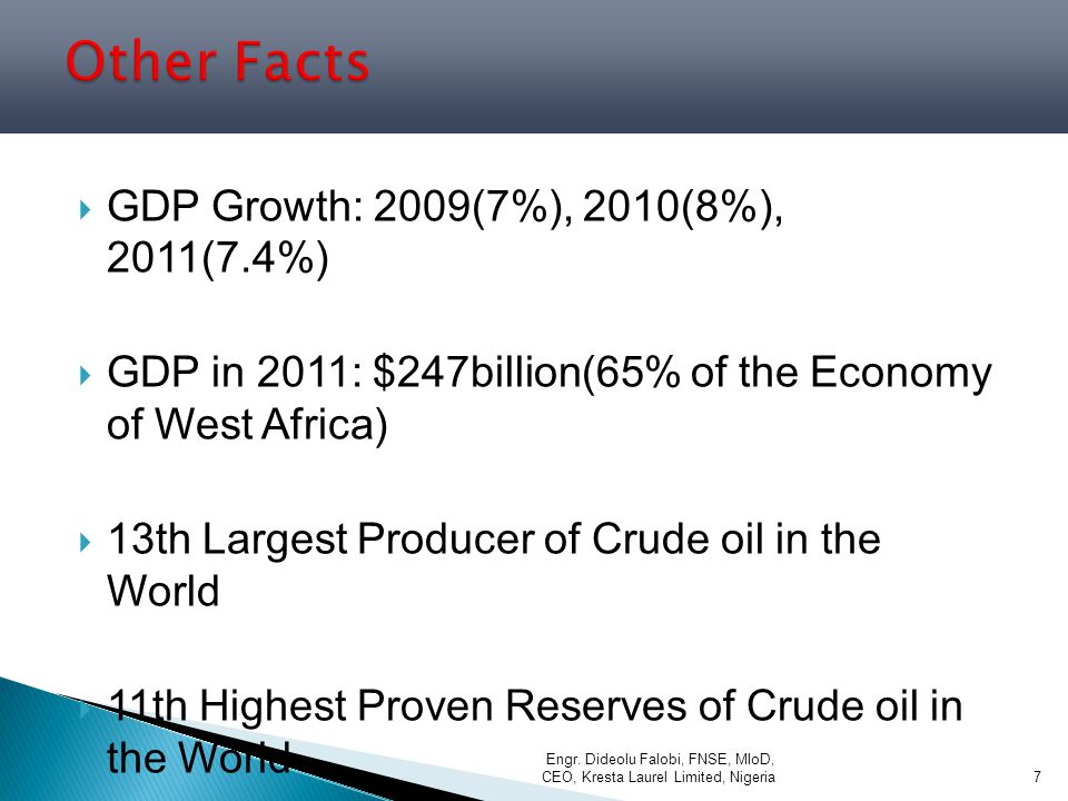 Other Facts GDP Growth: 2009(7%), 2010(8%), 2011(7.4%)