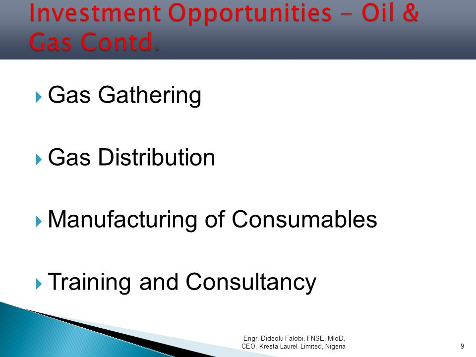 Investment Opportunities - Oil & Gas Contd.