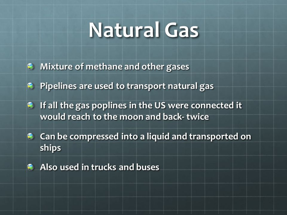Natural Gas Mixture of methane and other gases