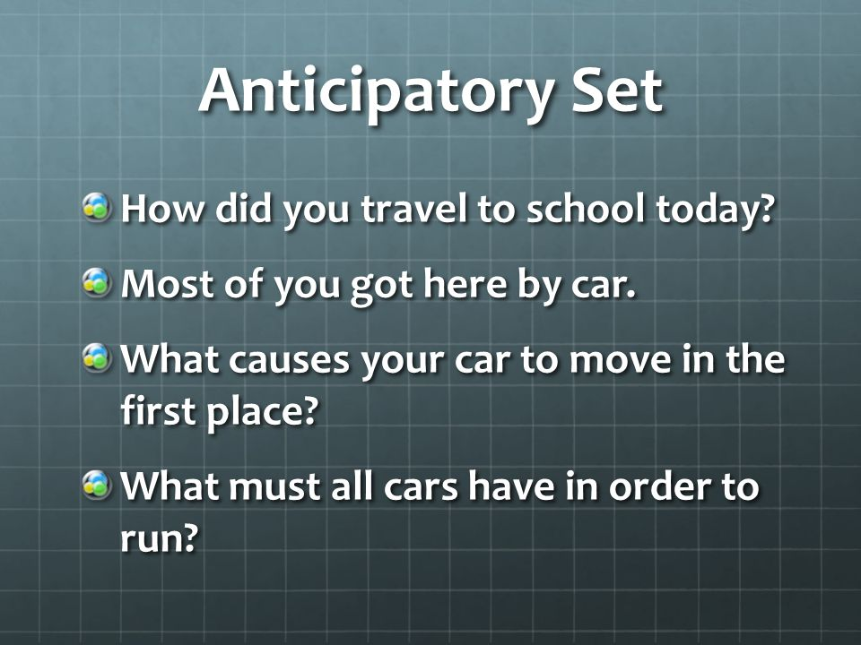 Anticipatory Set How did you travel to school today