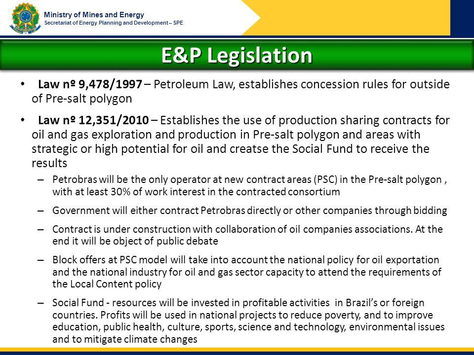 E&P Legislation Law nº 9,478/1997 – Petroleum Law, establishes concession rules for outside of Pre-salt polygon.